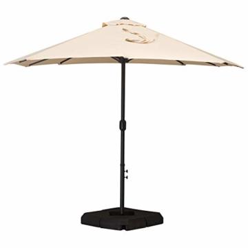 Outsunny Doppelsonnenschirm mit Ständer, Sonnenschirm mit Handkurbel, Gartenschirm, Marktschirm, Stahl, Polyester, Beige, 4,6 x 2,7 x 2,4 m - 4