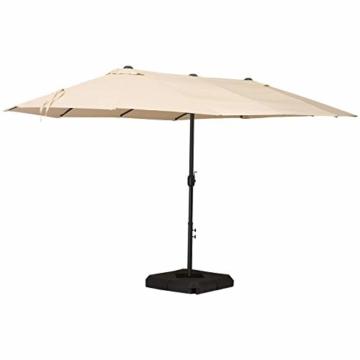 Outsunny Doppelsonnenschirm mit Ständer, Sonnenschirm mit Handkurbel, Gartenschirm, Marktschirm, Stahl, Polyester, Beige, 4,6 x 2,7 x 2,4 m - 1