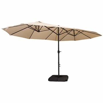 Outsunny Doppelsonnenschirm mit Ständer, Sonnenschirm mit Handkurbel, Gartenschirm, Marktschirm, Stahl, Polyester, Beige, 4,6 x 2,7 x 2,4 m - 5