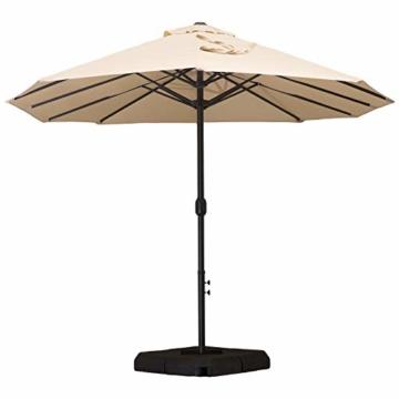 Outsunny Doppelsonnenschirm mit Ständer, Sonnenschirm mit Handkurbel, Gartenschirm, Marktschirm, Stahl, Polyester, Beige, 4,6 x 2,7 x 2,4 m - 6