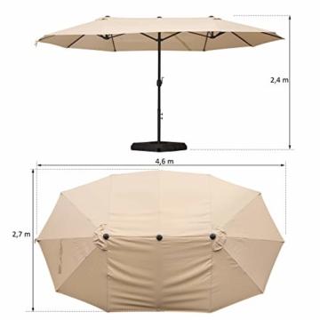 Outsunny Doppelsonnenschirm mit Ständer, Sonnenschirm mit Handkurbel, Gartenschirm, Marktschirm, Stahl, Polyester, Beige, 4,6 x 2,7 x 2,4 m - 7