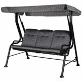 Outsunny Hollywoodschaukel, 3-Sitzer Gartenschaukel, Verstellbares Sonnendach, Textilene Grau 200 x 120 x 170 cm - 1