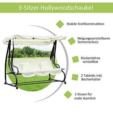 Outsunny Hollywoodschaukel Gartenschaukel 3-Sitzer Liegefunktion Stahl Creme 200x120x164cm - 3