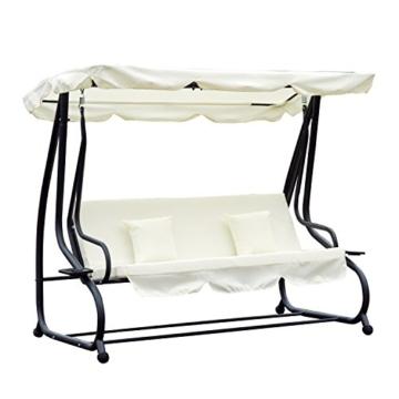 Outsunny Hollywoodschaukel Gartenschaukel 3-Sitzer Liegefunktion Stahl Creme 200x120x164cm - 1