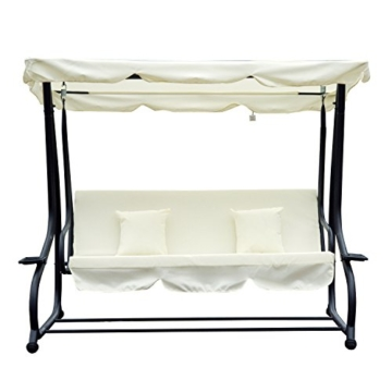 Outsunny Hollywoodschaukel Gartenschaukel 3-Sitzer Liegefunktion Stahl Creme 200x120x164cm - 6