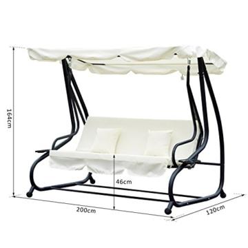 Outsunny Hollywoodschaukel Gartenschaukel 3-Sitzer Liegefunktion Stahl Creme 200x120x164cm - 7