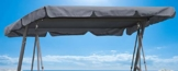 QUICK STAR Ersatzdach Gartenschaukel Universal PASSEND von 110x170cm bis 145x200cm Hollywoodschaukel 3 Sitzer UV 50 Ersatz Bezug Sonnendach Schaukel Grau - 1