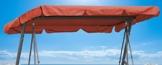 QUICK STAR Ersatzdach Gartenschaukel Universal PASSEND von 110x170cm bis 145x200cm Hollywoodschaukel 3 Sitzer UV 50 Ersatz Bezug Sonnendach Schaukel Terra/Orange - 1