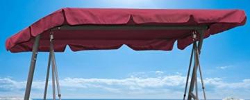 QUICK STAR Ersatzdach Gartenschaukel Universal PASSEND von 115x170cm bis 145x200cm Hollywoodschaukel 3 Sitzer UV 50 Ersatz Bezug Sonnendach Schaukel Bordeaux Weinrot - 1