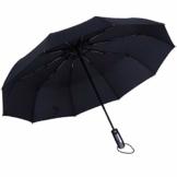 Regenschirm Kinder-Regenschirm Taschenschirm Windproof sturmfest Auf-Zu Automatik, Nylon Umbrella Wasserabweisend Klein Leicht kompakt, 10 Ribs Reise Golfschirm Leicht Mitzunehmen Stabil (Schwarz) - 1