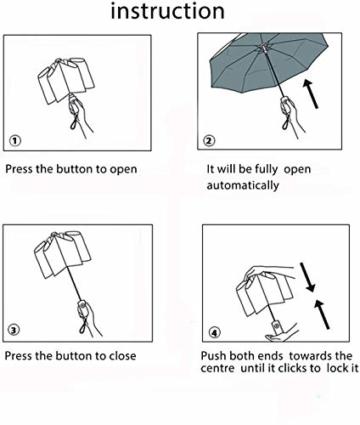 Regenschirm Taschenschirm, Bestico Winddicht Kompakt Regenschirm 210T Stof Teflon-Beschichtung, 10 Edelstahl-Rippen, Voll-automatischer Auf-Zu-Automatik Transportabel Schirm, 104cm (Schwarz) - 3