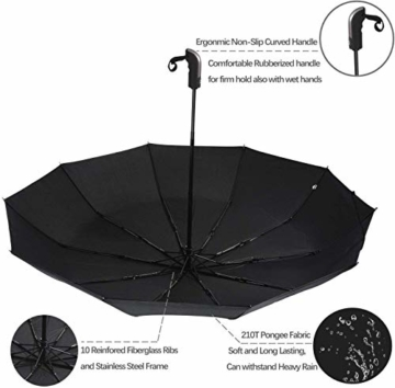 Regenschirm Taschenschirm, Bestico Winddicht Kompakt Regenschirm 210T Stof Teflon-Beschichtung, 10 Edelstahl-Rippen, Voll-automatischer Auf-Zu-Automatik Transportabel Schirm, 104cm (Schwarz) - 4