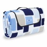 Relaxdays Picknickdecke XXL, 200 x 200 cm, wärmeisoliert, Faltbare Stranddecke, wasserdicht, mit Tragegriff, blau-beige - 1