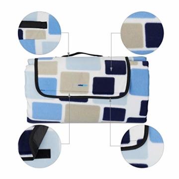 Relaxdays Picknickdecke XXL, 200 x 200 cm, wärmeisoliert, Faltbare Stranddecke, wasserdicht, mit Tragegriff, blau-beige - 3