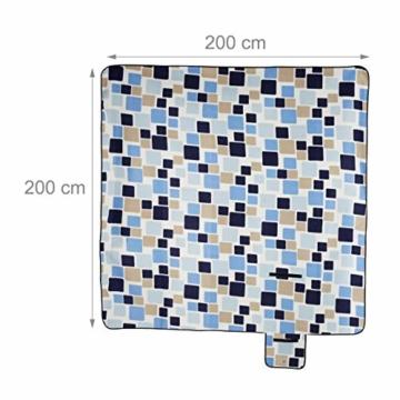 Relaxdays Picknickdecke XXL, 200 x 200 cm, wärmeisoliert, Faltbare Stranddecke, wasserdicht, mit Tragegriff, blau-beige - 4