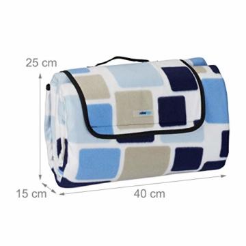 Relaxdays Picknickdecke XXL, 200 x 200 cm, wärmeisoliert, Faltbare Stranddecke, wasserdicht, mit Tragegriff, blau-beige - 5