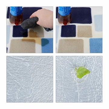 Relaxdays Picknickdecke XXL, 200 x 200 cm, wärmeisoliert, Faltbare Stranddecke, wasserdicht, mit Tragegriff, blau-beige - 6