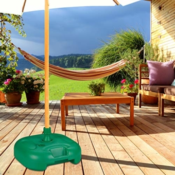Relaxdays Sonnenschirmständer, befüllbar mit Wasser o. Sand, Stockgrößen 22-38mm, Kunststoff Schirmfuss 44x42 cm, grün - 2