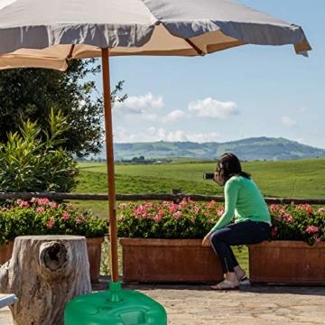 Relaxdays Sonnenschirmständer, befüllbar mit Wasser o. Sand, Stockgrößen 22-38mm, Kunststoff Schirmfuss 44x42 cm, grün - 3