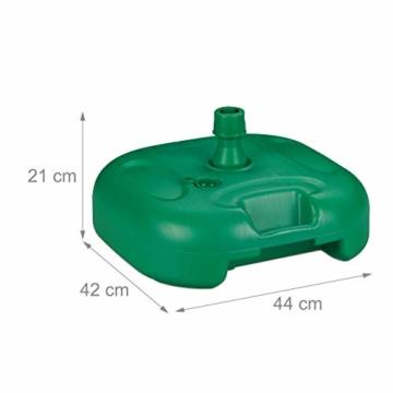 Relaxdays Sonnenschirmständer, befüllbar mit Wasser o. Sand, Stockgrößen 22-38mm, Kunststoff Schirmfuss 44x42 cm, grün - 4