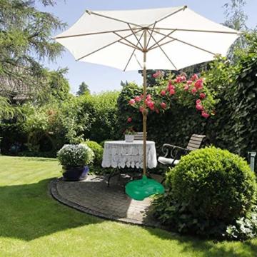 Relaxdays Sonnenschirmständer, befüllbar mit Wasser o. Sand, Stockgrößen 22-38mm, Kunststoff Schirmfuss 44x42 cm, grün - 5
