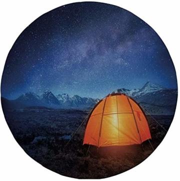 """Rutschfreies Gummi-rundes Mauspad Nacht Campingzelt unter einem Nachthimmel voller Sterne Urlaubsabenteuer im Freien Blau-Orange 7.9""""x7.9""""x3MM - 1"""