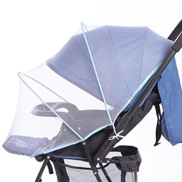samtlan Baby Insektenschutz Moskitonetz für Kinderwagen Netz Universal waschbar Langlebig tragbar mit Blau Stützstäbe für Kinderwagen Stubenwagen Kinderwagen Kinderbett Baby Warenkorb (weiß) - 2