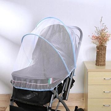 samtlan Baby Insektenschutz Moskitonetz für Kinderwagen Netz Universal waschbar Langlebig tragbar mit Blau Stützstäbe für Kinderwagen Stubenwagen Kinderwagen Kinderbett Baby Warenkorb (weiß) - 3