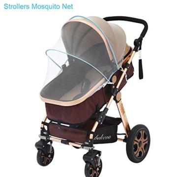 samtlan Baby Insektenschutz Moskitonetz für Kinderwagen Netz Universal waschbar Langlebig tragbar mit Blau Stützstäbe für Kinderwagen Stubenwagen Kinderwagen Kinderbett Baby Warenkorb (weiß) - 5