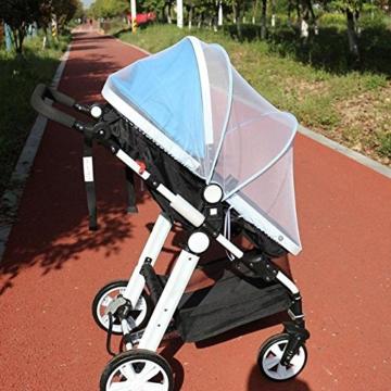 samtlan Baby Insektenschutz Moskitonetz für Kinderwagen Netz Universal waschbar Langlebig tragbar mit Blau Stützstäbe für Kinderwagen Stubenwagen Kinderwagen Kinderbett Baby Warenkorb (weiß) - 7