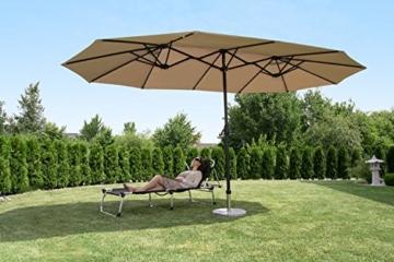 Sekey 270 X 460 cm Aluminium Doppelsonnenschirm Marktschirm Gartenschirm Terrassenschirm Sonnenschutz UV50+ (Taupe) - 2