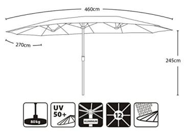 Sekey 270 X 460 cm Aluminium Doppelsonnenschirm Marktschirm Gartenschirm Terrassenschirm Sonnenschutz UV50+ (Taupe) - 7
