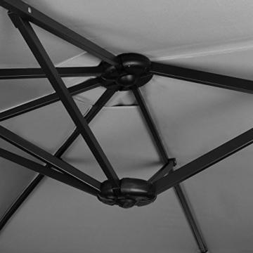 Sekey 270 X 460 cm Aluminium Doppelsonnenschirm Marktschirm Gartenschirm Terrassenschirm Sonnenschutz UV50+ Grau - 2