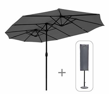Sekey 270 X 460 cm Doppelsonnenschirm | Sonnenschirm mit Schutzhülle Sonnenschutz UV50+ Grau - 1