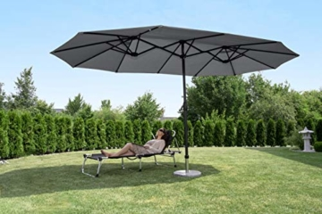 Sekey 270 X 460 cm Doppelsonnenschirm | Sonnenschirm mit Schutzhülle Sonnenschutz UV50+ Grau - 6