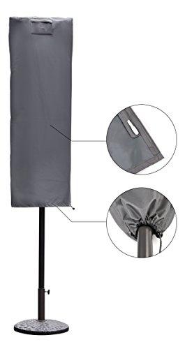 Sekey Schutzhülle für Sonnenschirm, Abdeckhauben für Sonnenschirm,160cm× 62cm, grau - 3