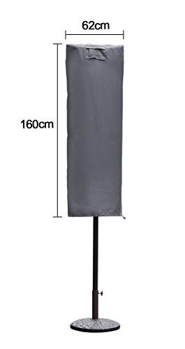 Sekey Schutzhülle für Sonnenschirm, Abdeckhauben für Sonnenschirm,160cm× 62cm, grau - 7