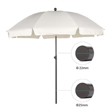 Sekey® Sonnenschirm 200 cm Marktschirm Gartenschirm Terrassenschirm Creme Rund Sonnenschutz UV25+ - 2