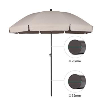 Sekey® Sonnenschirm 240 cm Marktschirm Gartenschirm Terrassenschirm Taupe Rund Sonnenschutz UV25+ - 2