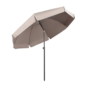 Sekey® Sonnenschirm 240 cm Marktschirm Gartenschirm Terrassenschirm Taupe Rund Sonnenschutz UV25+ - 1