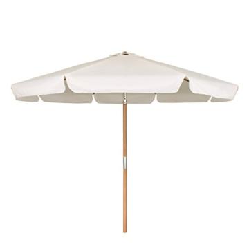 Sekey® Sonnescherm 300 cm Holz-Sonnenschirm Marktschirm Gartenschirm Terrassenschirm Creme Rund UV50+ - 2