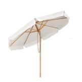 Sekey® Sonnescherm 300 cm Holz-Sonnenschirm Marktschirm Gartenschirm Terrassenschirm Creme Rund UV50+ - 1