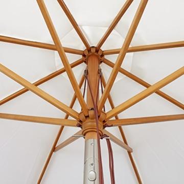Sekey® Sonnescherm 300 cm Holz-Sonnenschirm Marktschirm Gartenschirm Terrassenschirm Creme Rund UV50+ - 4