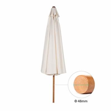 Sekey® Sonnescherm 300 cm Holz-Sonnenschirm Marktschirm Gartenschirm Terrassenschirm Creme Rund UV50+ - 6
