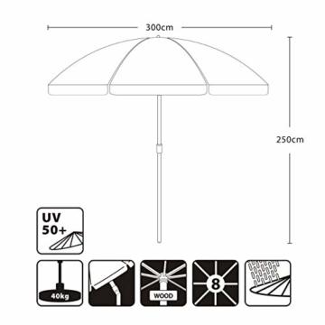 Sekey® Sonnescherm 300 cm Holz-Sonnenschirm Marktschirm Gartenschirm Terrassenschirm Creme Rund UV50+ - 7