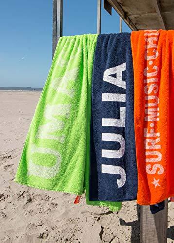 S< Strandtuch mit Name - personalisierte Bedrucking - XXL Saunatuch - Strandtuch 100x200 aus Baumwolle (Dunkelblau) - 3