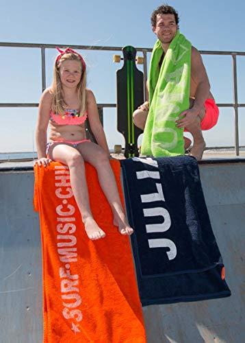 S< Strandtuch mit Name - personalisierte Bedrucking - XXL Saunatuch - Strandtuch 100x200 aus Baumwolle (Dunkelblau) - 5