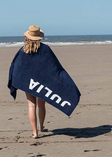 S< Strandtuch mit Name - personalisierte Bedrucking - XXL Saunatuch - Strandtuch 100x200 aus Baumwolle (Dunkelblau) - 6