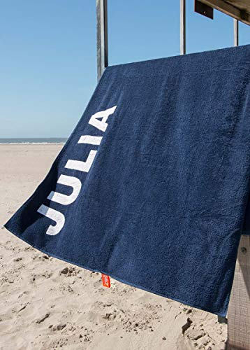 S&LT Strandtuch mit Name - personalisierte Bedrucking - XXL Saunatuch - Strandtuch 100x200 aus Baumwolle (Dunkelblau) - 1