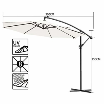 Sonnenschirm Ampelschirm Ø300cm mit Kurbelvorrichtung, 8 Rippen Gartenschirm Marktschirm Strandschirm, Sonnenschutz wasserabweisend,für Garten Balkon Terasse Camping Schwimmbad Loggia, beige - 3